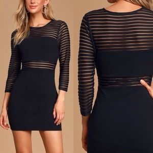 Lulu's Perfect Black Mesh Bodycon Dress